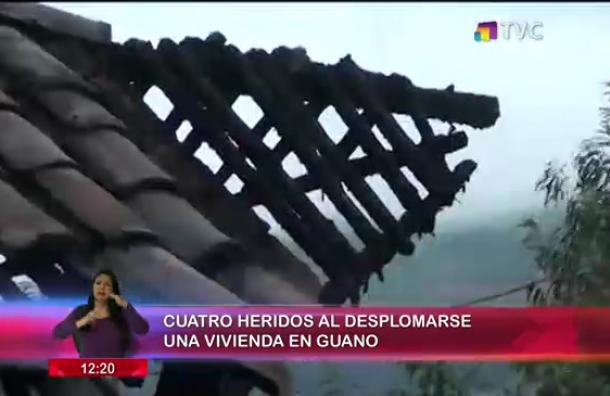 Cuatro heridos tras desplomarse una casa en Guano