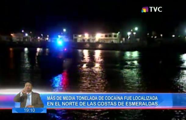 Media tolenada de cocaína fue incautada en las costas de Esmeraldas