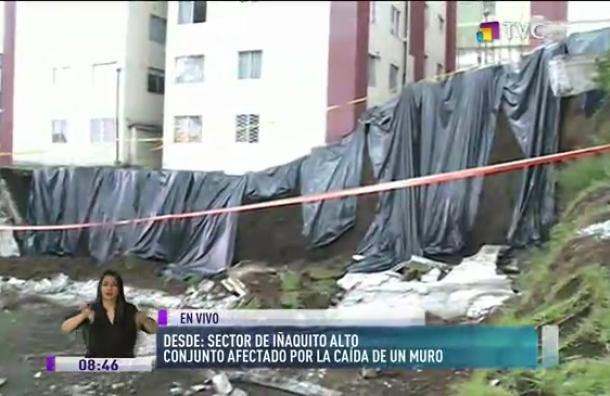Conjunto afectado por la caída de un muro