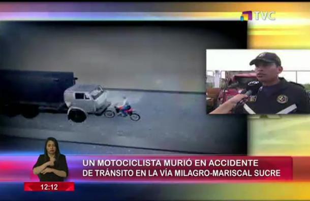 Motociclista muere en accidente de tránsito en la vía Milagro-Mariscal Sucre