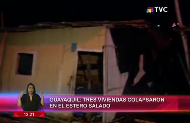 Viviendas colapsaron en el Estero Salado
