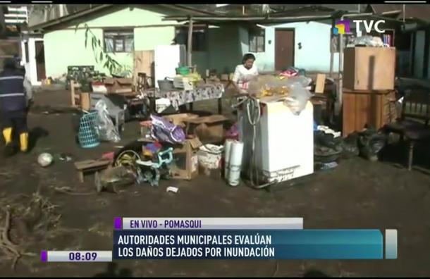 Autoridades municipales evalúan daños por inundación en Pomasqui